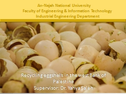 Recycling eggshells in the west Bank of Palestine