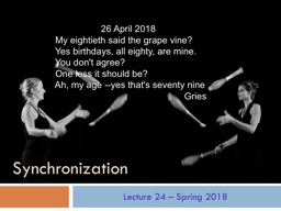 Lecture 24 � Spring 2018