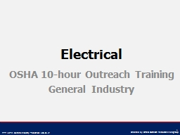 Electrical OSHA 10-hour Outreach Training