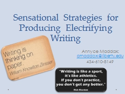 Sensational Strategies for Producing Electrifying Writing