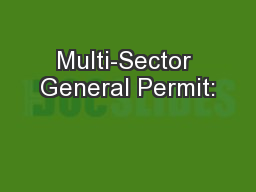 Multi-Sector General Permit: PowerPoint PPT Presentation