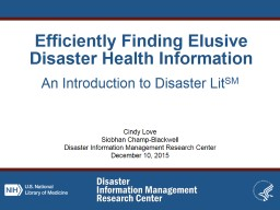 Efficiently Finding Elusive Disaster Health Information