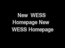 New  WESS Homepage New  WESS Homepage