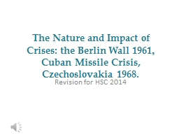 The Nature and Impact of Crises: the Berlin Wall 1961