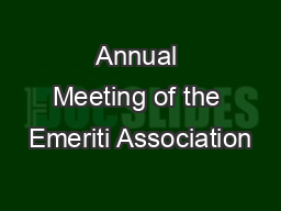 Annual Meeting of the Emeriti Association