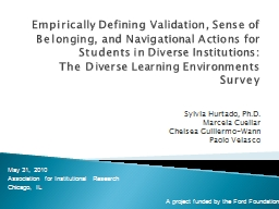 Empirically Defining Validation, Sense of Belonging, and Navigational Actions for Students in Diver