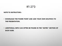 RT-273 Note to Instructors: