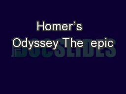 Homer's  Odyssey The  epic
