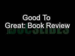 Good To Great: Book Review