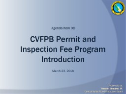 CVFPB Permit and Inspection Fee Program