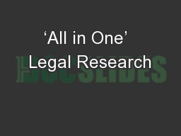 'All in One'  Legal Research
