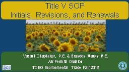Title V  SOP Initials, Revisions, and Renewals