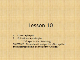 Lesson  10 Collect  epitaphs