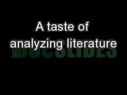 A taste of analyzing literature