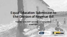 Equal Education Submission to the Division of Revenue Bill