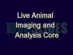 Live Animal Imaging and Analysis Core