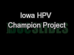 Iowa HPV Champion Project