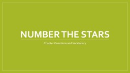 Number the Stars Chapter Questions and Vocabulary