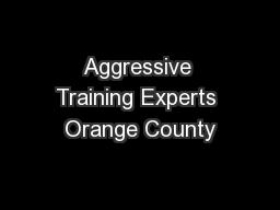 Aggressive Training Experts Orange County