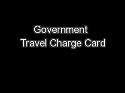Government Travel Charge Card