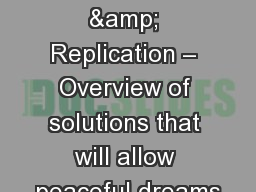 Veeam Backup & Replication – Overview of solutions that will allow peaceful dreams