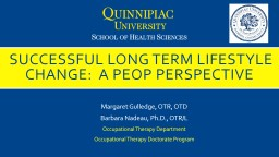 successful long term lifestyle change:  A peop perspective