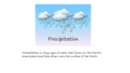 Precipitation is any type of water that forms in the Earth's atmosphere and then drops onto the sur