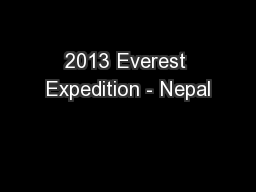 2013 Everest Expedition - Nepal
