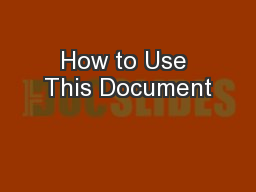 How to Use This Document