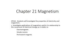 Chapter 21 Magnetism SPS10.  Students will investigate the properties of electricity and magnetism.