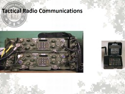 Tactical Radio Communications