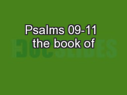 Psalms 09-11 the book of