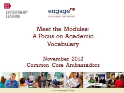 Meet the Modules: A Focus on Academic Vocabulary