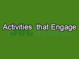 Activities  that Engage