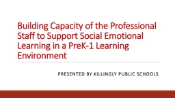 Building Capacity of the Professional Staff to Support Social Emotional Learning in a PreK-1 Learni