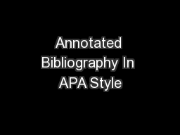 Annotated Bibliography In APA Style
