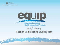 ELA /Literacy Session  2: