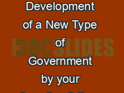 Federalism Development of a New Type of Government by your founding fathers