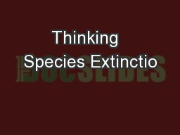 Thinking  Species Extinctio