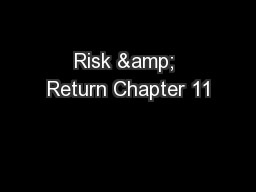 Risk & Return Chapter 11