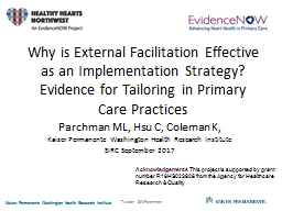 Why is External Facilitation Effective as an Implementation Strategy? Evidence for Tailoring