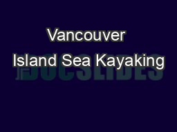 Vancouver Island Sea Kayaking