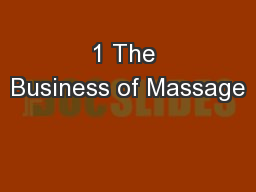 1 The Business of Massage