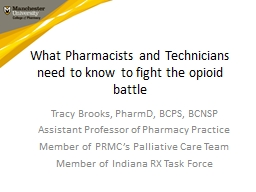 What Pharmacists and Technicians need to know to fight the opioid battle