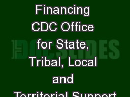 Public Health Financing CDC Office for State, Tribal, Local and Territorial Support