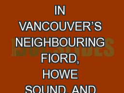 PARAGLACIAL SEDIMENTATION IN VANCOUVER�S NEIGHBOURING FIORD, HOWE SOUND, AND ITS IMPLICATIONS FOR