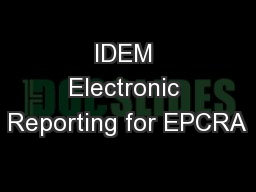 IDEM Electronic Reporting for EPCRA