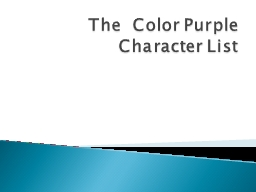 The  Color Purple Character List
