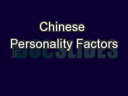 Chinese Personality Factors