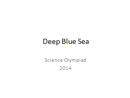 Deep Blue Sea Science Olympiad